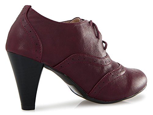 Ankle Heel Jane Women's Bootie up Boots Mary Heel Pumps ShoBeautiful Mid Chunky Oxford Fashion by Burgundy Lace Classic Shoes fqqSxnB