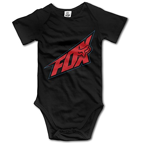 IGiGT Fox Racing Red Logo Unisex Baby Onesie Rompers Jumpsuit Babysuit Climbing Clothes Black (V1 Flag Red)