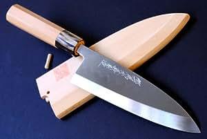 YOSHIHIRO Shiroko Honyaki Deba Yew Handle Japanese Fillet Chef Knife 8.25
