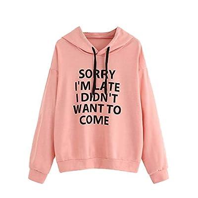 PEIZH Womens Contrast Printed Hooded Sweater Long Sleeve Hoodie Sweatshirt Tops Jumper Hooded Pullover Blouse