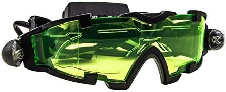 Gafas de Vidrio de visión Nocturna con LED Ajustables Caza Luz giratoria a Prueba de Viento-Verde y Negro