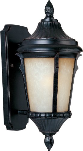 - Maxim 86013LTES Odessa EE 1-Light Outdoor Wall Lantern, Espresso Finish, Latte Glass, GU24 Fluorescent Fluorescent Bulb , 60W Max., Damp Safety Rating, Standard Dimmable, Glass Shade Material, 1344 Rated Lumens