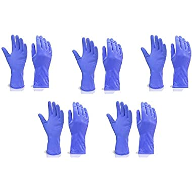 Fortane Reusable Rubber Cleaning Gloves Set | Hand Gloves Free Size for Washing, Cleaning Kitchen, Gardening (Blue) Pair of (5) 5