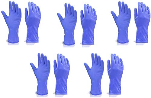Fortane Reusable Rubber Cleaning Gloves Set | Hand Gloves Free Size for Washing, Cleaning Kitchen, Gardening (Blue) Pair of (5) 1