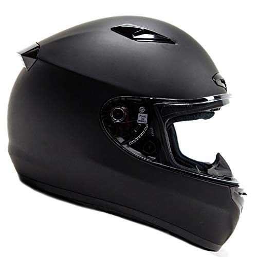 Snell Dot - Free Smoke Shield with Purchase! Snell M2015 Approved DOT Full Face Helmet Motorcycle Street Racing (Large - Matte Black)