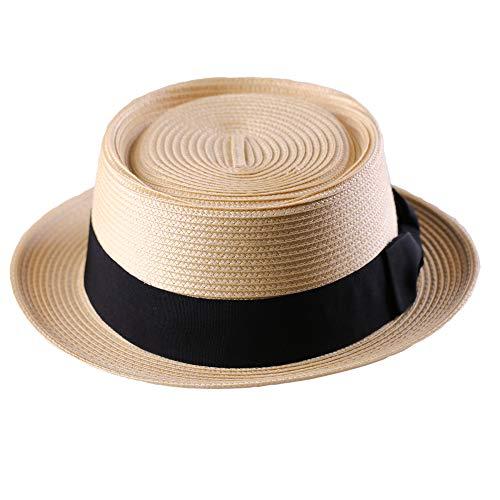 Pork Pie Straw Hat Men's Fedora Sun Hats Summer Porkpie Beach Flat Boater Cap with Upturn Brim (L:7 1/4-7 3/8, A2-Tan)