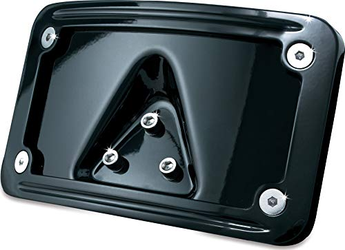 (Kuryakyn 3148 Motorcycle Accessory: Curved Laydown License Plate Mount with Frame for Harley-Davidson, Honda Motorcycles and Custom Applications, Gloss Black)