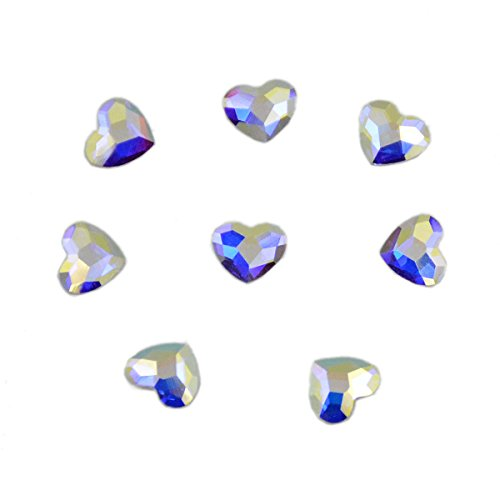 AD Beads Swarovski Flatbacks No-Hotfix Rhinestones Crystal AB (Heart - 5x6mm - 8pcs)