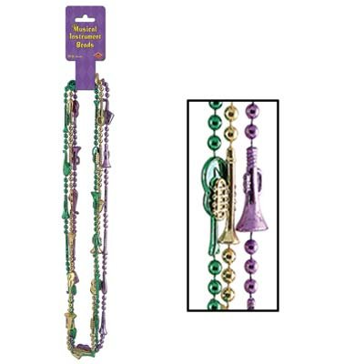 Musical Instrument Beads (asstd gold, green, purple) Party Accessory  (1 count) (3/Card)