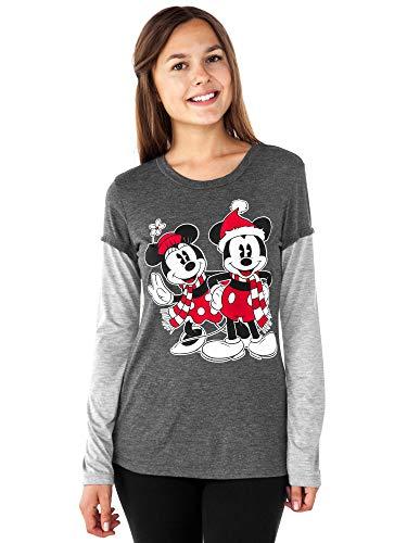 Disney Junior T-Shirt Mickey & Minnie Mouse Christmas Print Long Sleeve (2XL) - Christmas Womens Cut T-shirt