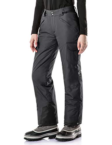 (TSLA Women's Rip-Stop Snow Pants Windproof Ski Insulated Water-Repel Bottoms, Snow Cargo(xkb92) - Charcoal, Medium/Short (Waist:27.5~29.5,Hips:41.5~43.5 Inch))