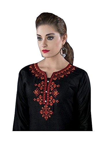 Jayayamala Frauen Schwarz Baumwolle V-Ausschnitt Bestickte Tunika Kleid