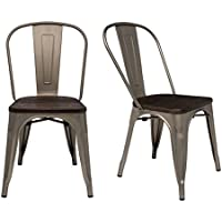 Steampunk Tolix Replica Metal Dining Chairs (SET OF 2) (Gunmetal/Wood)