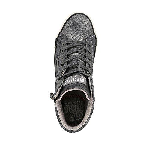 Dunkelgrau High Blau Sneaker Damen Grau Mustang Top 7zqUUB