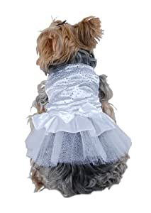 Anima White Satin Party Dress with Faceted Studs and Layered Tool Skirt for Dogs, X-Small