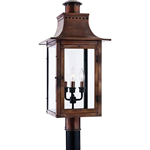 Quoizel CM9012AC Chalmers Outdoor Copper Lantern Post Mount, 3-Light, 180 Watts, Aged Copper (26