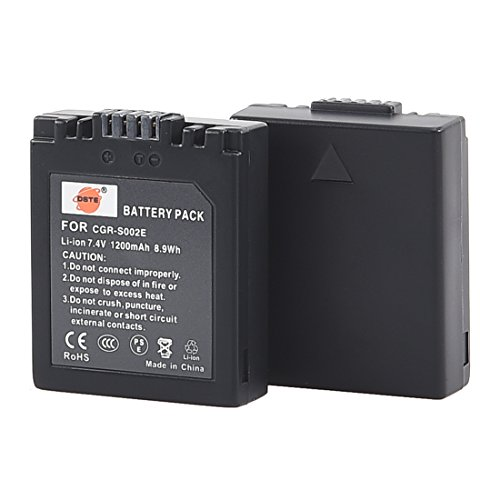 DSTE Replacement for 2X CGR-S002 CGR-S002E Li-ion Battery Compatible Panasonic Lumix DMC-FZ1 FZ2 FZ3 FZ4 FZ5 FZ10 FZ15 FZ20 Camera as CGA-S002 DMW-BM7
