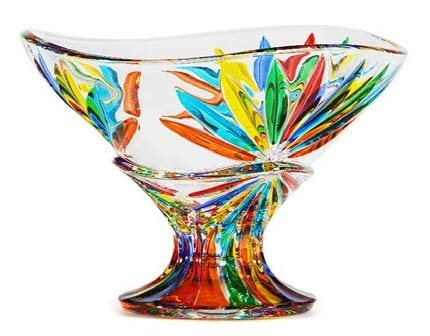 Murano Glass Starburst Compote Bowl, Made in Italy (Art Compote Glass)