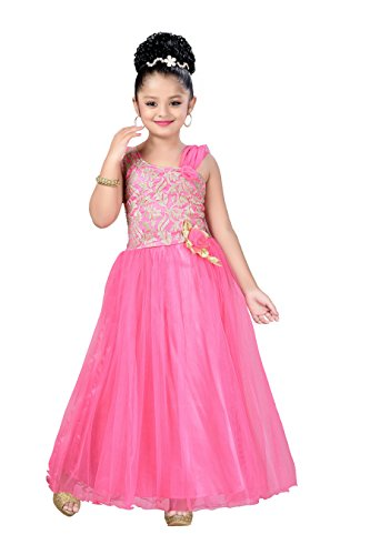 Aarika Girl's Pink Self Design Net Fabric Extra Flare Party Wear Ball Gown (G-973-PINK_32_10-11 Years) by Aarika