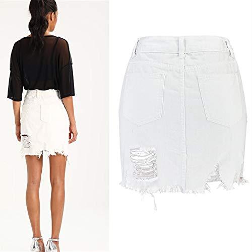 Mezclilla Lápiz Para Cintura Falda Mujeres Rasgados Swovq White Alta De Mujer Faldas Irregulares vHqXcFv5Wa