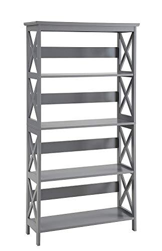 (Convenience Concepts Oxford 5-Tier Bookcase, Gray)