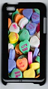 iPod 4 Case Candy Hearts Holiday PC Custom iPod 4 Case Cover Black