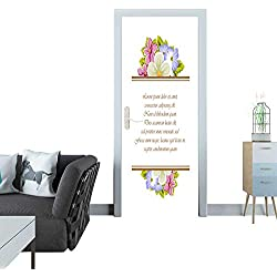 Anmaseven Door Sticker Frame of a Few Flowers for Design of Cards Invitations Greeting for Birthday Wedding Party Holiday Celebration Valentine s Day 5 Sticker for Door 30x79(77x200 cm)