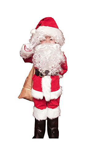Complete Santa Suit (OVOV 10 Pcs Complete Santa Claus Christmas Suit Set Kids Costume for Xmas Party Cosplay)