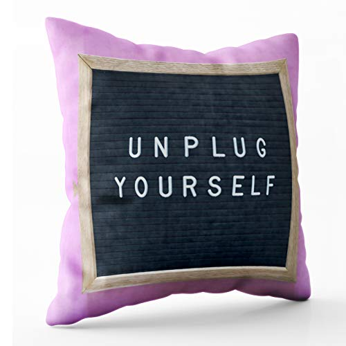 Shorping Throw Pillows for Couch, Zippered Covers Pillowcases 20X20Inch Throw Pillow Covers Yourself Words Framed Black Message Board Pink Background for Home Sofa Bedding