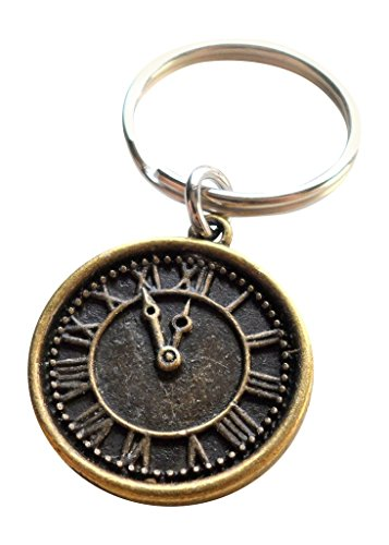 Bronze Clock Keychain - I still Love Being With You After All This Time; Couples Keychain