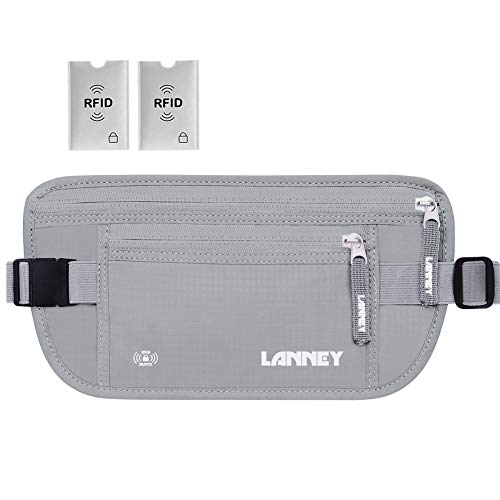Travel Money Belt for Men Women RFID Blocking Waist Wallet Hidden Antitheft Passport Holder Concealed Under Clothes Stash Pouch, Bonus 2 Credit Card Sleeves, Silver Grey