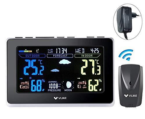 Wetterstation Funk mit Außensensor, VLIKE Funk Wetterstation Digitale Wetterstationen Funk-Wettervorhersage-Uhr mit Funk-Außensensor für Home-Office-Einsatz Farbdisplay Dual-Alarme Innen- / Außentemperatur und Luftfeuchtigkeit Mondphasen-Luftdruck
