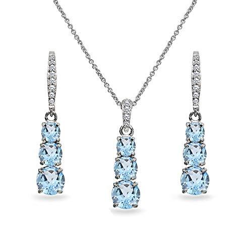 Sterling Silver Blue Topaz 3-Stone Journey Pendant Necklace & Dangle Leverback Earrings Set for Women Teen Girls