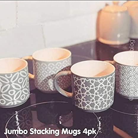 Four New Designs Jumbo Embossed Stacking Mugs With Rack Hold to Your Kitchen 4pk