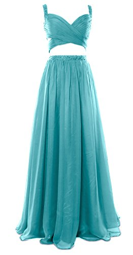 2 Women Formal Prom Dress Gown MACloth Piece Chiffon Party Homecoming Sexy Turquoise Long q5x6Cd
