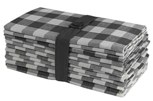 Cotton Craft 12 Pack Gingham Checks Oversized Dinner Napkins - Grey- Size 20x20-100% Cotton - Tailored with Mitered Corners and a Generous Hem - Easy Care Machine wash ()