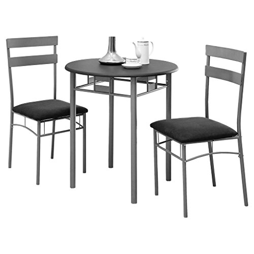 Monarch Specialties Black and Silver Metal Bistro Dining Set, 3-Piece (And Bistro Chairs Silver Table)