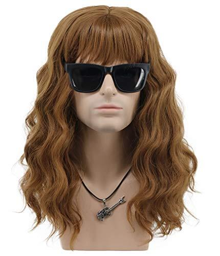 VGbeaty Men Women Long Curly Brown California Hard 80s 70s Rocker Wig Halloween Costume Cosplay Anime Wig