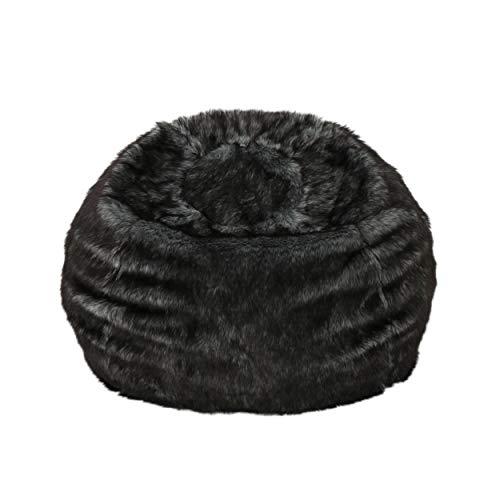 Christopher Knight Home Laraine Furry Glam Black and White Streak Faux Fur 3 Ft. Bean Bag
