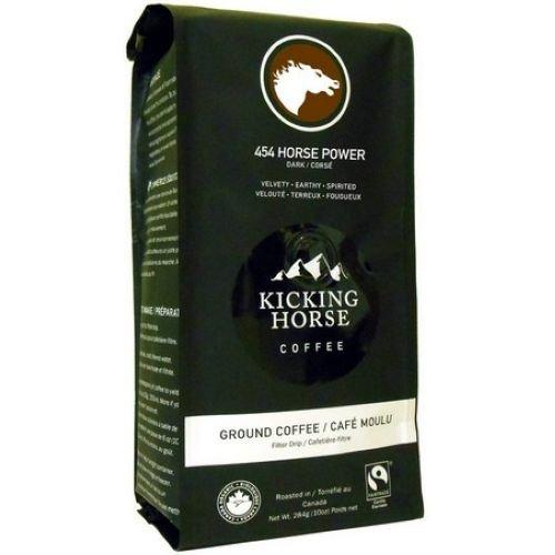 Kicking Horse 454 Horse Powder Dark Roast Ground Coffee, 10 Ounce - 6 per case.
