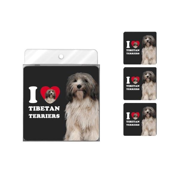 Tree-Free Greetings NC39132 I Heart Tibetan Terriers 4-Pack Artful Coaster Set, Grey and White 1