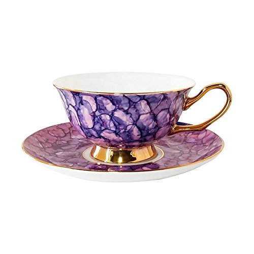 ACOOME Tea Cup and Saucer Set- 6.8oz Premium Quality Bone China Hand-made Golden Rim Gemstone Pattern Teacup (Blue)