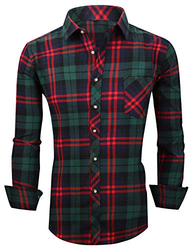 XTAPAN Men's Plaid Casual Regular Fit Long Sleeve Lattice Button Down Dress Shirt Tag 41 Dark Green M620 -