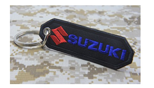 Suzuki Chain (SUZUKI EMBROIDERED PATCH KEYCHAIN KEY RING MOTORCYCLE RACING BIKER)