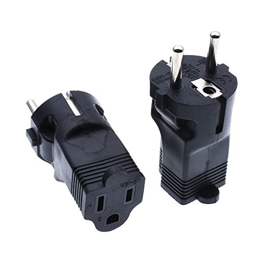Hi-Power Euro Travel Adapter USA Nema 5-15R to Schuko Plug Make NEMA5-15P ot be CEE7/7 Plug