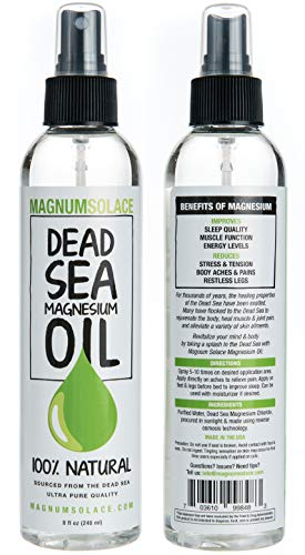 (Magnesium Oil Spray 100% Pure From the Dead Sea - Large 8 oz Bottle LASTS SIX MONTHS - Made in USA - Exceptional #1 Therapeutic Source For Magnesium Chloride)