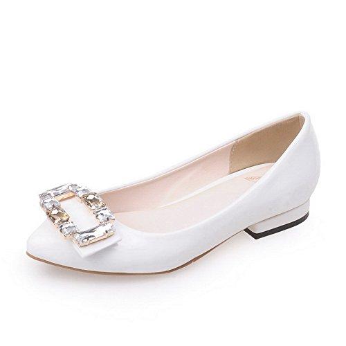 con chiusa Women Lace tacco diamante bianco solido Agoolar Mini a Up punta salotto AdvqqXw