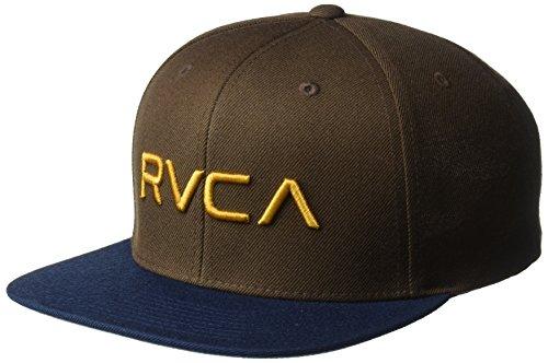 RVCA Men's Twill Snapback Hat, Brown, - Back Snap Best