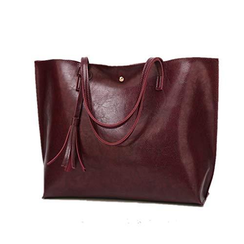 Bags Shoulder Leather Top Women Nodykka Wax Handle Green2 Satchel Tote Pebbled Tassel Handbags PU Purse EwSqFFR