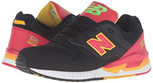New Balance Herren M530pin Sneaker, 40.5 EU, Schwarz/Rot/Gelb, 44.5 EU